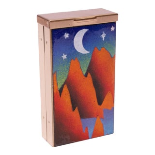 "Mid-Century Modern Enamel and Satin Brass ""Canyon"" Cigarette Holder / Trinket Box For Sale"