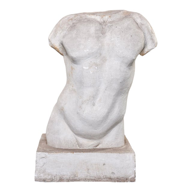 French Plaster Sculpture of Nude Male Torso For Sale