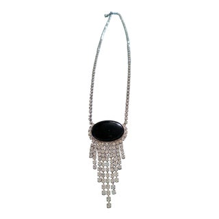 Vintage Rhinestone and Black Stone Pendant Statement Necklace For Sale