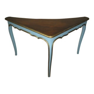 Luxury French Provincial Corner Desk Table Turquoise Herman Schlorman For Sale