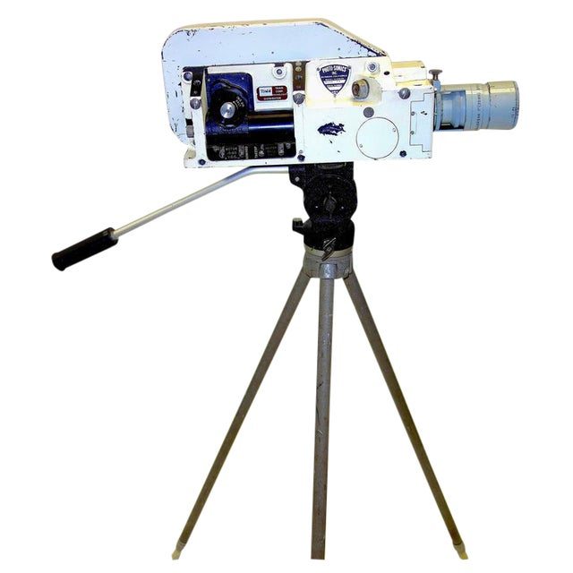 Military Analysis Cinema Camera. Circa Mid 20th Century. Display As Sculpture. On Vintage Tripod. For Sale