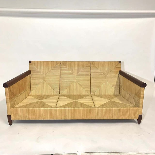 Rare and Stunning John Hutton for Donghia Mahogany and Wrapped Woven Wicker Sofa For Sale - Image 11 of 13
