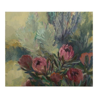 """Contemporary Original Oil on Canvas Painting """"Dusky Proteas"""" by Jenny Parsons For Sale"""