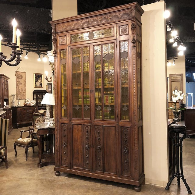 Renaissance Grand 19th Century Italian Renaissance Stained Glass Bookcase For Sale - Image 3 of 13