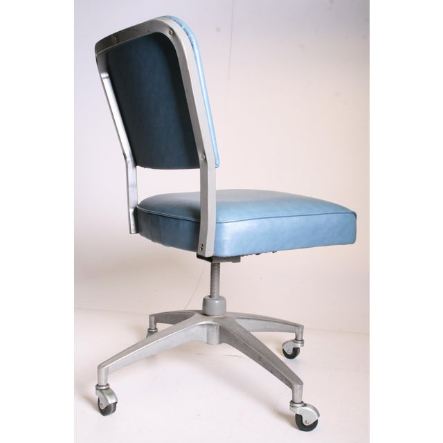Mid Century Modern Blue Vinyl Swivel Office Chair - Image 6 of 11