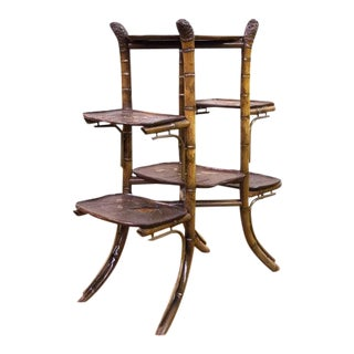 Late 19th Century Carved & Lacquer Bamboo Six Tiered Etagere with Root Finials For Sale