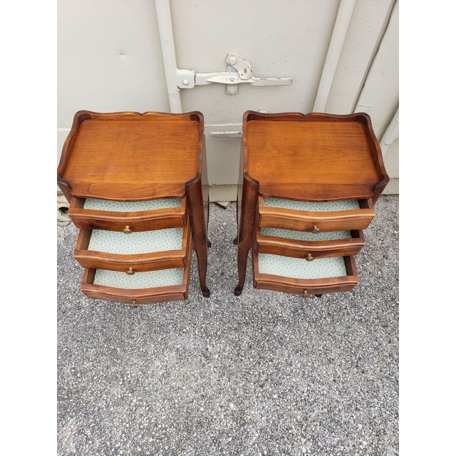 20th Century French Louis XV Walnut Bedside Cabinets - a Pair For Sale - Image 9 of 10