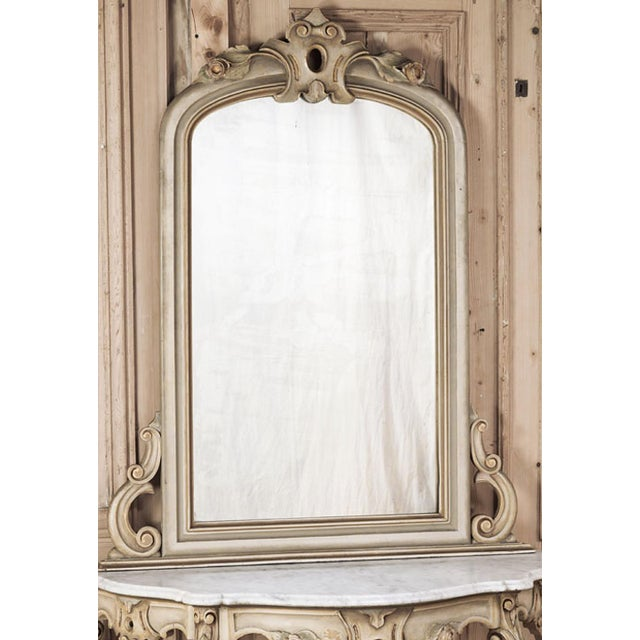 19th Century Italian Hand Painted Console and Mirror With Cararra Marble For Sale - Image 4 of 13