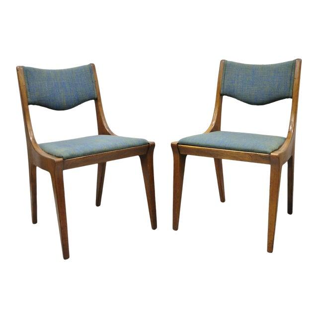 Drexel Dateline John Van Koert Walnut Mid Century Modern Dining Chairs - a Pair For Sale