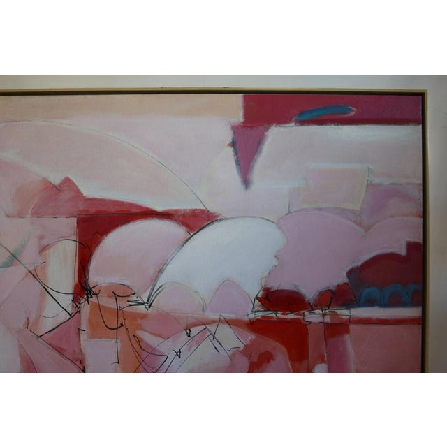 Canvas Huge Wesley Johnson Abstract Oil Painting in Variation of Pink For Sale - Image 7 of 9