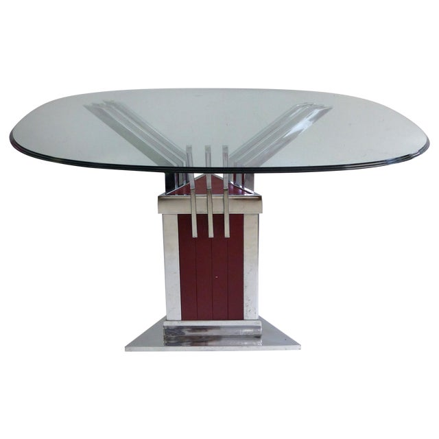 Angled Chrome & Lacquered Dining Table - Image 1 of 7