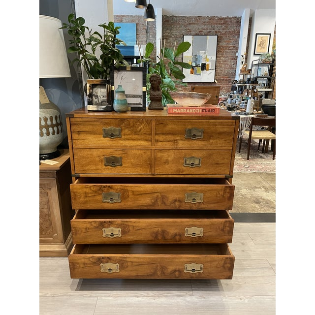 Mid-Century Modern Mount Airy Furniture Company Campaign-Style Mid Century Modern Secretary Chest For Sale - Image 3 of 13