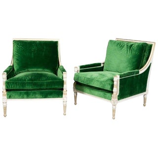 Pair of Ralph Lauren Louis XVI Style Green Velvet Upholstered Painted Bergeres For Sale
