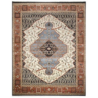 Antique Persian Serapi Area Rug - 9'x12' For Sale