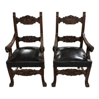 Spanish Revival Fabulous Carved Chairs w/Lion Heads Handles -A pair