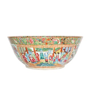 A Large 'Canton Famille Rose' Punch Bowl Mid-19th Century For Sale