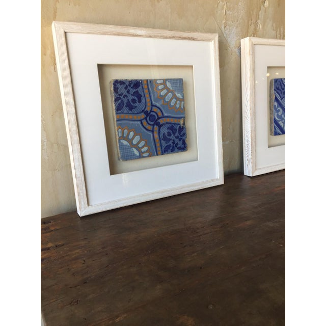 Framed Italian Antique Blue, Yellow, & White Tile For Sale - Image 4 of 7