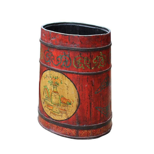 Asian Distressed Chinese Tibetan Barrel Shape Red Floral Bucket Wood Container For Sale - Image 3 of 9