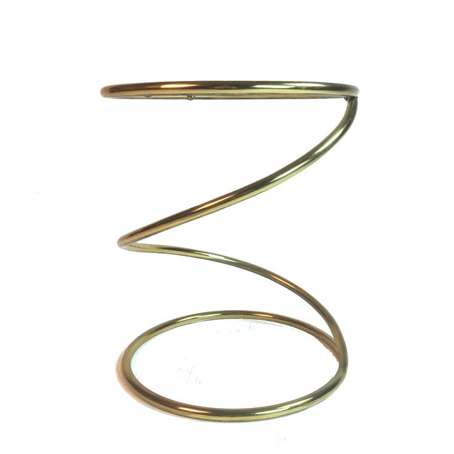 Pace Collection Pace Collection Brass and Glass Spring or Spiral Coffee or End Table For Sale - Image 4 of 6