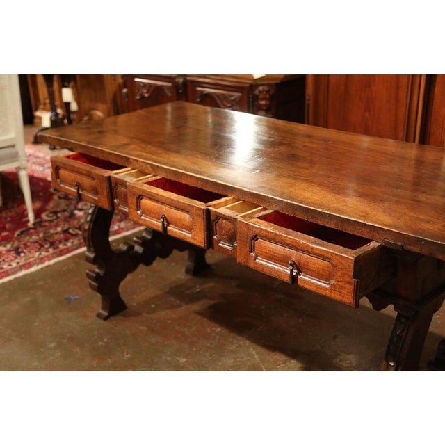 Important 18th Century Spanish Carved Walnut Console Table With Secret Drawers For Sale - Image 4 of 12