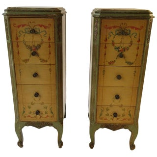Pair of Tall 1920s Marble-Top Adams Style Side Tables For Sale