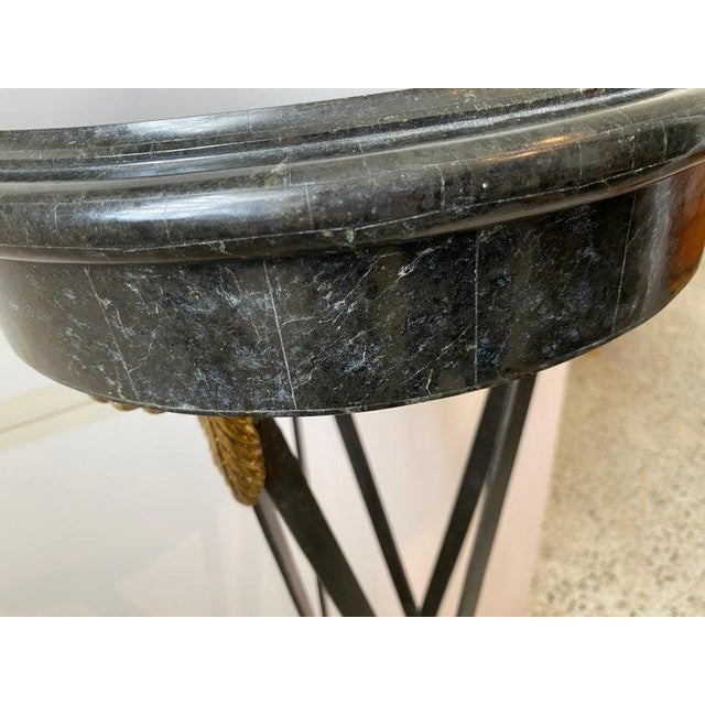 Vintage Maitland Smith Pedestal Neoclassical Revival in Tessellated Marble, Patinated Steel and Brass For Sale - Image 10 of 13