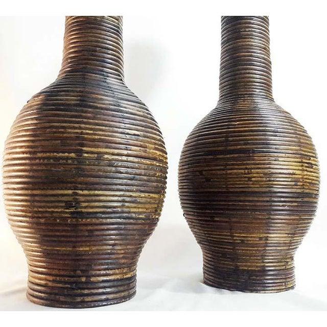 Decorative Rattan Wicker Woven Floor Vases A Pair Chairish