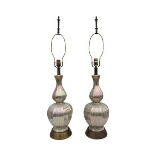 1950s Iridescent Ceramic Lamps - A Pair For Sale