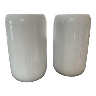 Calvin Klein White Pottery Vases - a Pair For Sale