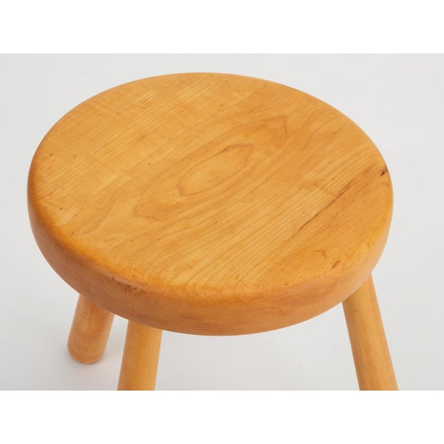 French Rustic Modern Three-Legged Stool in Pine Wood For Sale - Image 9 of 10