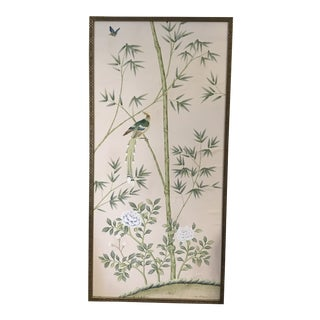 Hand Painted Silk De Gournay Wallpaper Panel For Sale