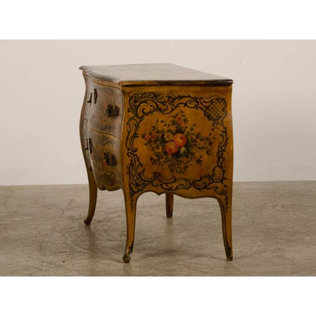 Italian Louis XV Rococo Style Antique Painted Bombè Chest circa 1885 - Image 5 of 10