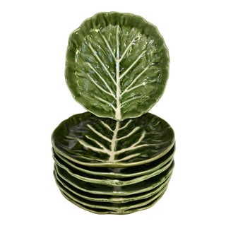 Vintage Green Cabbage Leaf Salad/Dessert Plates- Set of 8 For Sale