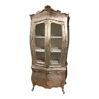 1920s Italian Silver Leaf 2-Piece Cabinet For Sale