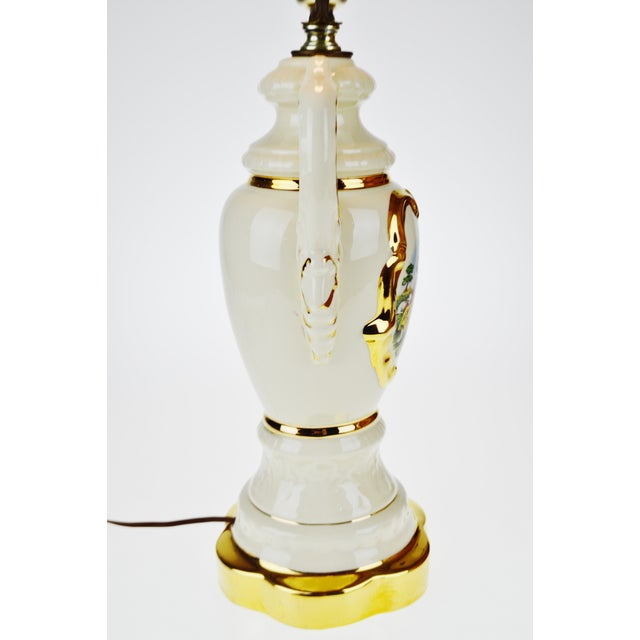 Ceramic French Victorian Ulrich Style Porcelain and Gilt Table Lamp For Sale - Image 7 of 9