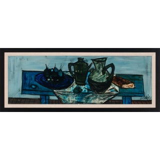 """Circa 1955 """"Table Bleue"""" Abstract Still Life Oil Painting by Charles Levier, Framed For Sale"""