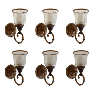 Hand Blown Glass Lantern Style Wall Sconces - Set of 6 For Sale