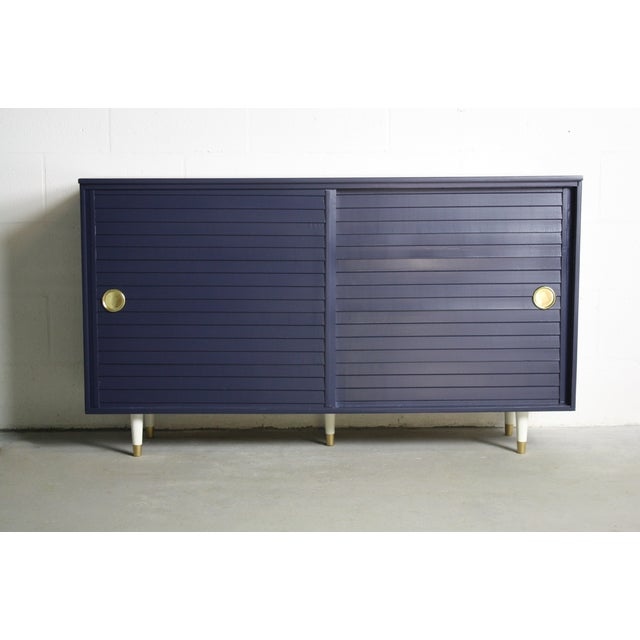 1960's Navy Cabinet W/ White & Gold Tapered Legs - Image 2 of 11