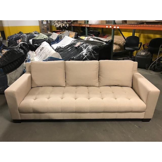 Transitional Three Seater Sofa With Back Cushions For Sale - Image 4 of 4