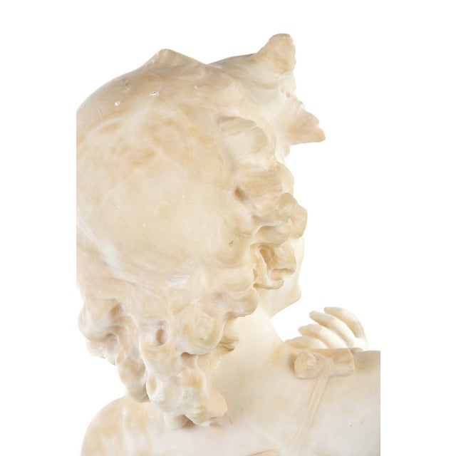 19th Century Antique Alabaster Sculpture of a Young Painter For Sale - Image 9 of 9