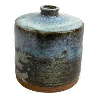 1970s Danish Ceramist Helle Allpass Scandinavian Mid Century Modern Light Blue Vase For Sale