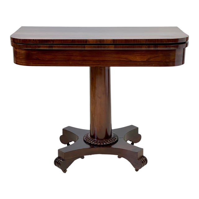 19th Century English Regency Rosewood Games Table For Sale
