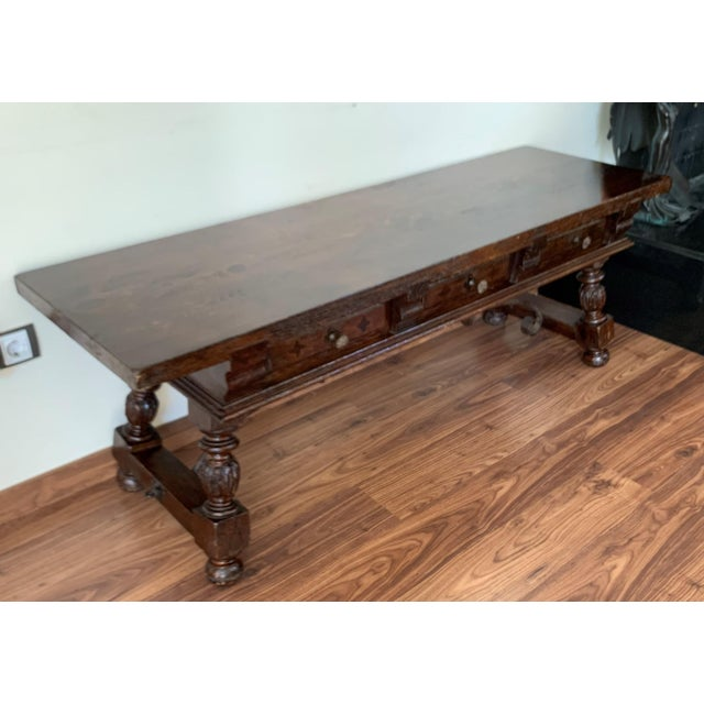 Metal 19h Spanish Bench or Low Console Table With Marquetry Drawers and Iron Stretcher For Sale - Image 7 of 11
