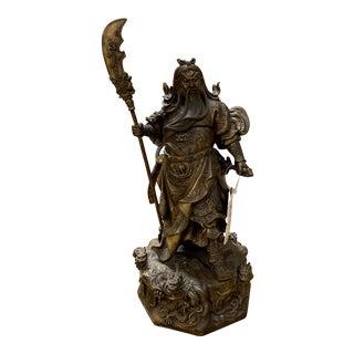 Brass Chinese Nine Dragon Warrior Sculpture For Sale