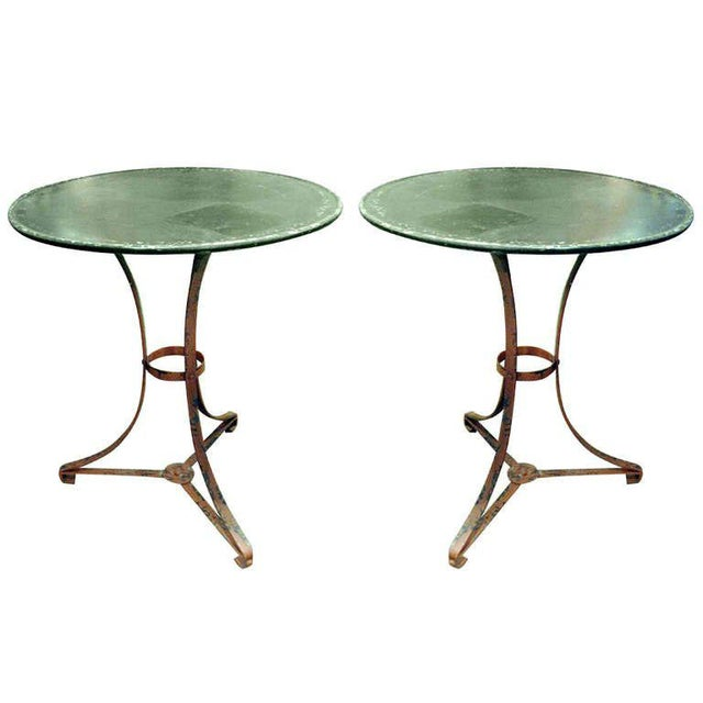 One Pair of French Garden Tables With Old Worn Painted Finish For Sale - Image 4 of 4