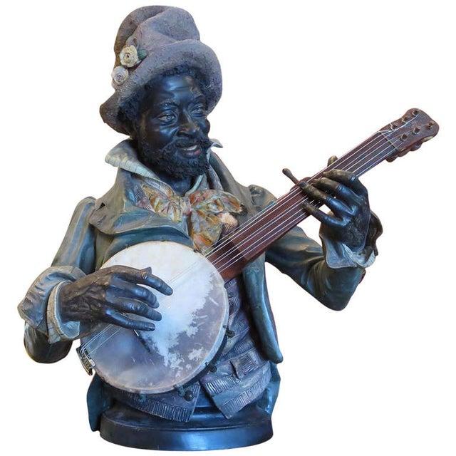 Goldscheider Ceramic Minstrel With Banjo For Sale