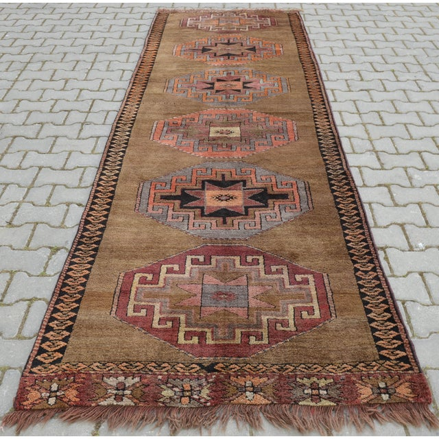 Hand Knotted Turkish Runner Rug - 3′7″ × 11′9″ - Image 6 of 9