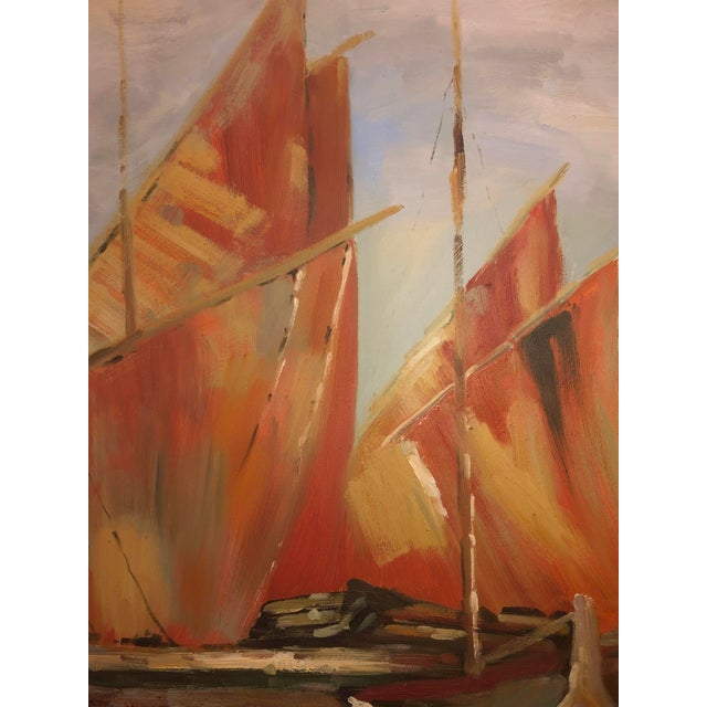 1970s Sailboats Off the Coastline Painting Mid Century France For Sale - Image 5 of 7