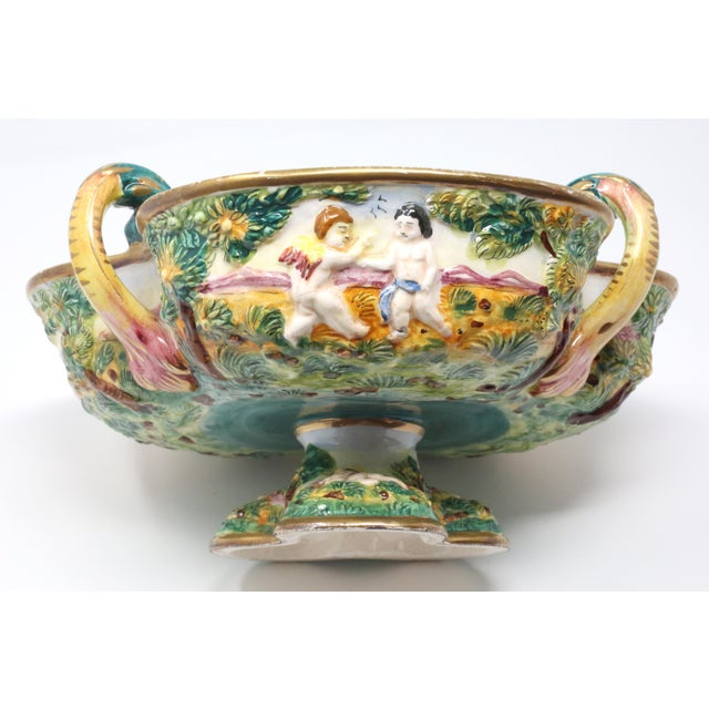 Ceramic Vintage Italian Capodimonte Clover-Shaped Footed Bowl For Sale - Image 7 of 13