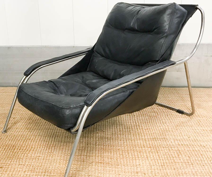 Mid Century Italian Chrome And Leather Chair And Ottoman   Image 4 Of 9